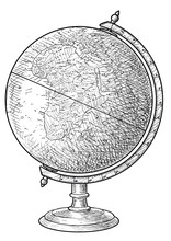 World Globe Illustration, Drawing, Engraving, Ink, Line Art, Vector