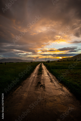 Fototapety, obrazy: Storm clouds at the sunset