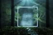 Leinwandbild Motiv Leuchtender Quadrat Rahmen mit Palmenblätter und Baumstämmen. 3D Rendering