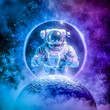 canvas print picture Alone in the final frontier / 3D illustration of science fiction scene with astronaut rising above moon surrounded by glowing galaxies in space