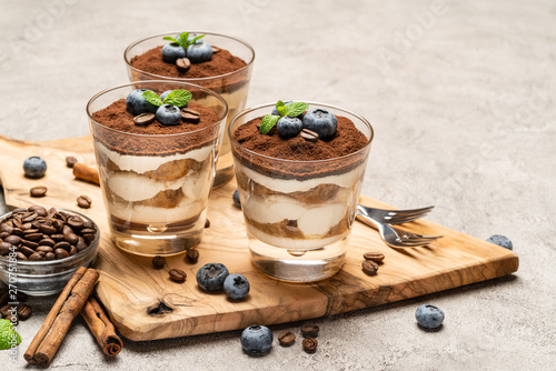 Obraz na plátně  Classic tiramisu dessert in a glass with blueberries on concrete background