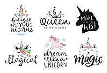 Unicorns Vector Cute Hand Draw...