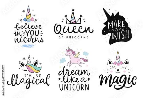 Fotografia Unicorns vector cute hand drawn lettering poster templates set