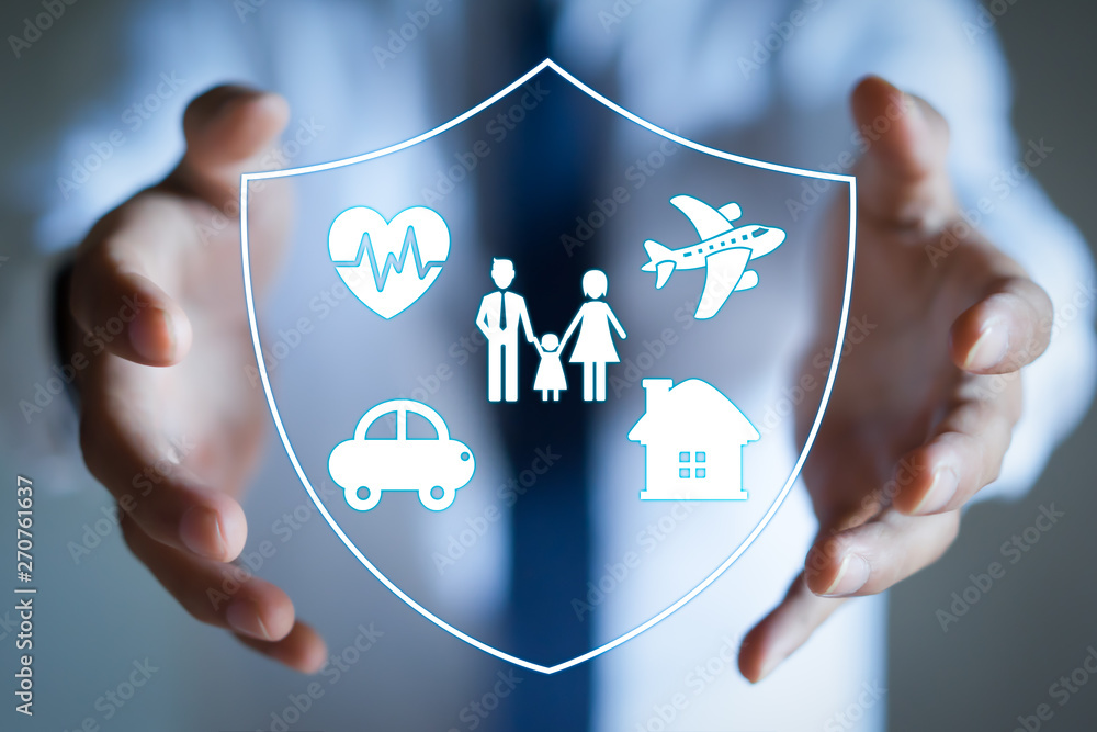 Fototapety, obrazy: Businessman with protective gesture and family, life, car, travel, health and house insurance icons. Insurance concept.