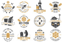 Set Of Honey Bee Farm Badge. V...