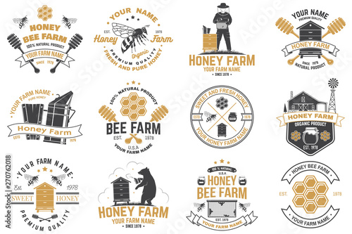 Slika na platnu Set of Honey bee farm badge