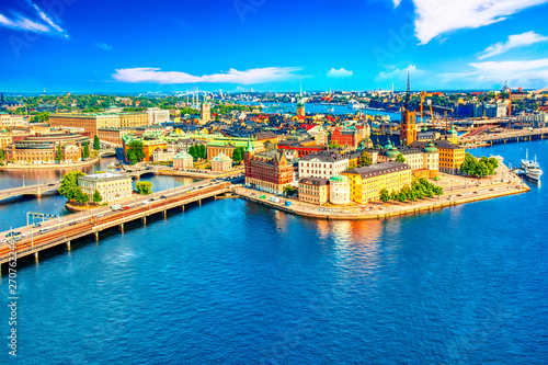 Beautiful aerial view of Stockholm Old town Gamla Stan from the City Hall Stadshuset Canvas Print