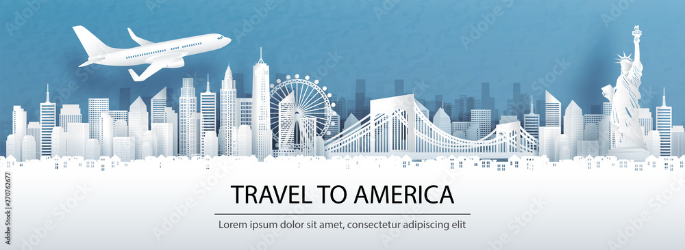 Fototapety, obrazy: Travel advertising with travel to America concept with panorama view of New York City skyline and world famous landmarks in paper cut style vector illustration.