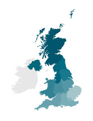 Vector isolated illustration of simplified administrative map of the United Kingdom of Great Britain and Northern Ireland. Borders of the regions. Colorful blue khaki silhouettes