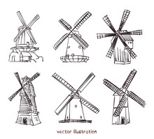 Vector Sketch Of Windmills