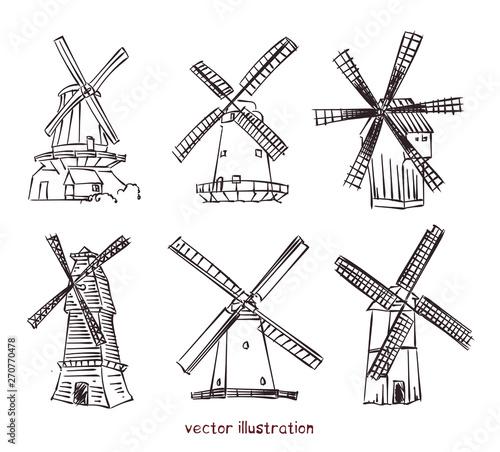 Fotomural  vector sketch of windmills