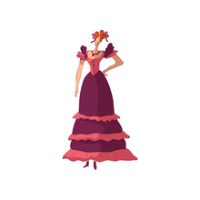 Red-haired Woman In An Old-fashioned Purple Dress With Ruffles. Vector Illustration On White Background.