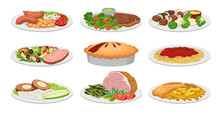 Set Of Images Of Ready Meals. ...