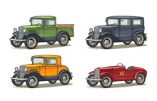 Retro Car Sedan, Coupe, Roadster And Pickup Truck. Vintage Engraving