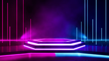 Hexagon Stage With Smoke And Purple Neon  Light ,abstract Futuristic  Background,ultraviolet  Concept,3d Render