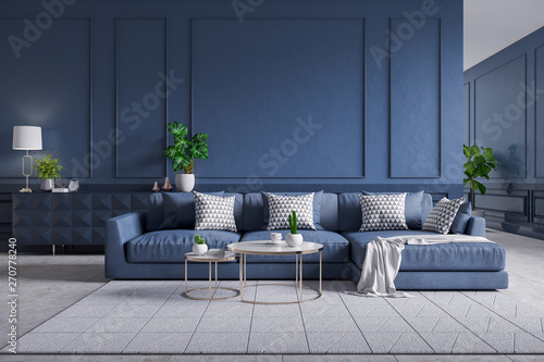 Modern interior of living room,blue sofa with cofee table on ...