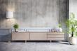 Leinwanddruck Bild - Loft interior design ,Wood Tv cabinet and concrete wall with cement flooring , 3d render