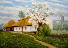 Oil Paintings Rural Landscape, Spring, House In The Countryside. Old Village, Fine Art.