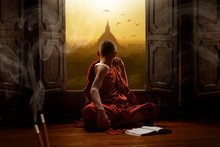 Novice Buddhist Monk Inside A ...