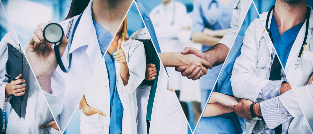 Fototapeta Healthcare people group. Professional doctor working in hospital office or clinic with other doctors, nurse and surgeon. Medical technology research institute and doctor staff service concept.