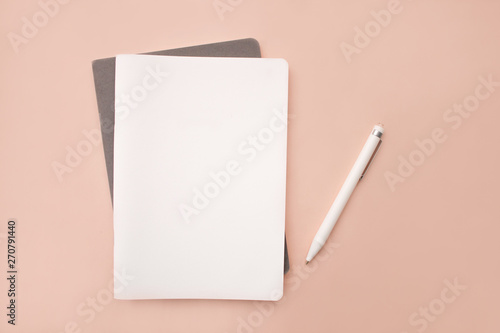Obraz white lies notebook the gray notebook in the form on a coral pink background with white handle lying next closeup - fototapety do salonu