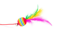 Multi Colored Ball With Feather For Cat Toy Isolated On A White Background