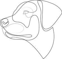 Continuous Line Labrador Retriever. Single Line Minimal Style Labrador Dog Vector Illustration. Portrait