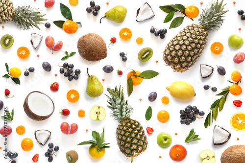Creative flat layout of fruit in the form of a pattern, top view. Food background.