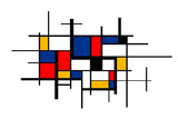 Abstract colorful painting in Piet Mondrian's style, wide artistic background - 270794290