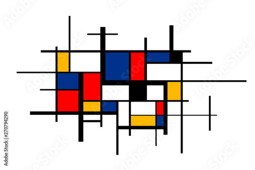 Photo  Abstract colorful painting in Piet Mondrian's style, wide artistic background