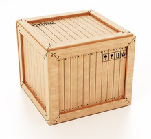 Transport Crate Isolated On White Background. 3D Illustration