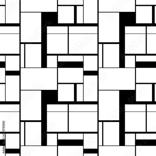 Photo  Black and white painting in Piet Mondrian's style, seamless pattern