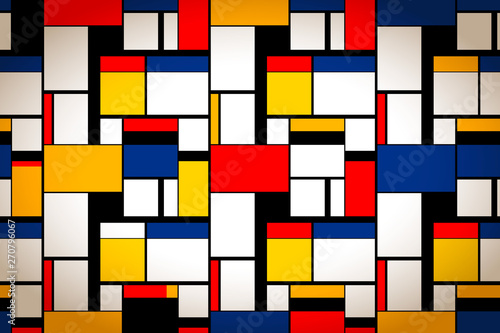Photo  Bright colorful painting in Piet Mondrian's style, artistic background