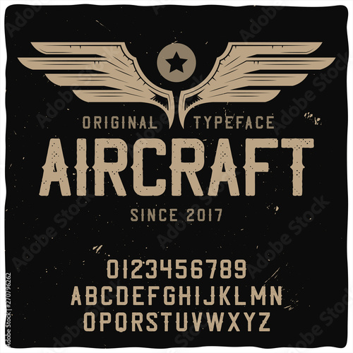 Original label typeface named Aircraft. Wallpaper Mural