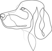 Continuous Line Irish Setter. Single Line Minimal Style Setter Dog Vector Illustration. Portrait