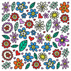 Vector set of child drawing flowers icons in doodle style. Painted, colorful, pictures on a piece of linear paper on white background.