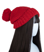 Mannequin Head With Winter Knit Hat Isolated On A White Background.