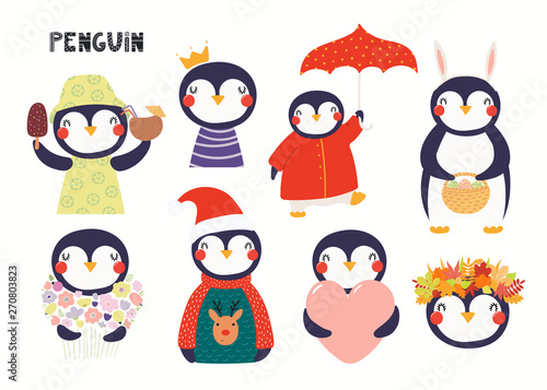 In de dag Illustraties Set of cute penguin illustrations, princess, with flowers, Christmas, autumn, summer. Isolated objects on white background. Hand drawn vector. Scandinavian style flat design. Concept children print.