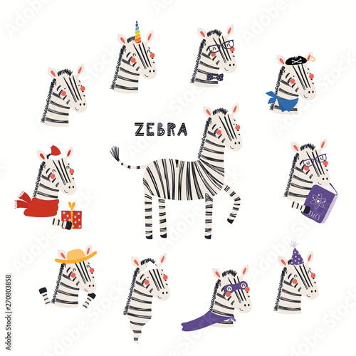 In de dag Illustraties Set of cute zebra illustrations, pirate, superhero, unicorn, Christmas, ghost, reading. Isolated objects on white background. Hand drawn vector. Scandinavian style flat design. Concept children print.