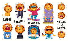 Set Of Cute Lion Illustrations...