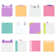 Set Of Sticky Paper Notes With Empty Space For Text, Vector Illustration