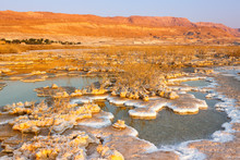 Dead Sea Israel Salt Islands Sunrise Morning Landscape Nature