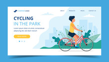 Cycling Landing Page. Man Riding Bicycle In The Park. Illustration For Active Lifestyle, Training, Cardio Exercising.