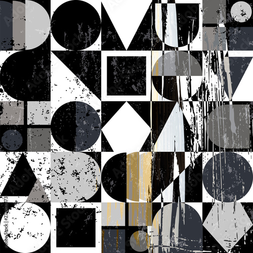 abstract geometric background composition, with strokes, splashes and elements, black and white