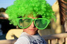 Funny Funny Boy In A Green Wig And In Huge Green Glasses