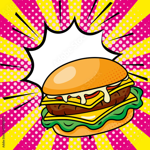 Fotografiet  hamburger icon cartoon vector illustration