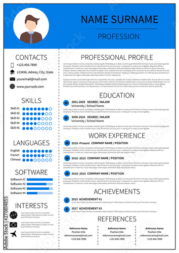 Resume Template For Man Modern Cv Layout With Infographic