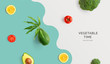 Leinwanddruck Bild - Creative layout made of avocado, tomato, lemon and broccoli. Flat lay. Food concept. Macro concept.