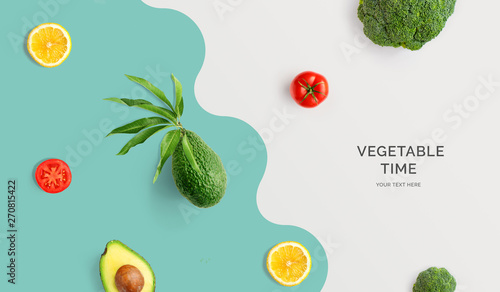 Foto op Aluminium Eten Creative layout made of avocado, tomato, lemon and broccoli. Flat lay. Food concept. Macro concept.