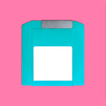 Iomega Zip Disk Front Nostalgia, Isolated And Presented In Punchy Pastel Colors, For Creative Design Cover, CD, Poster, Book, Printing, Gift Card, Flyer, Magazine, Web & Print